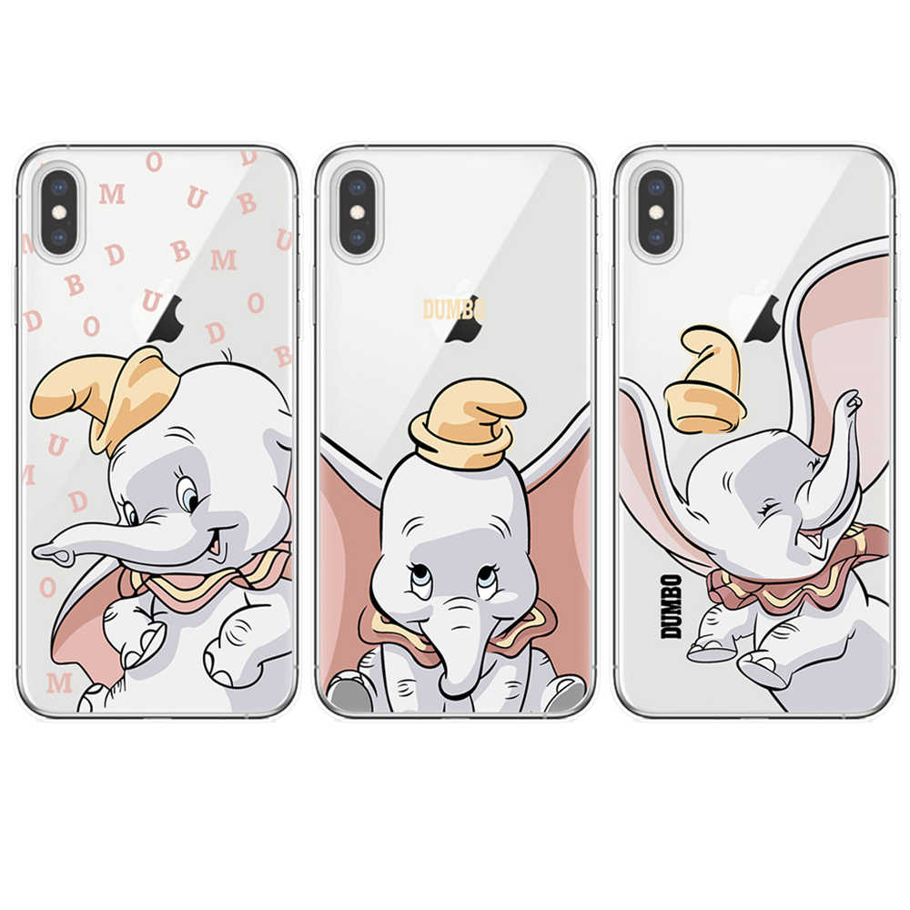 Cartoon Dumbo Elephant Disneys Phone Case For iPhone 11 Pro XS Max X XR 8 7 6 6S Plus 5S SE Cute Dumbo TPU Back Cover Coque Capa