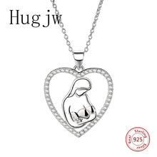 цены Genuine sterling silver 925 love heart mom hug kid necklace in jewelry pendant necklace with CZ chain fashion jewelry for mother