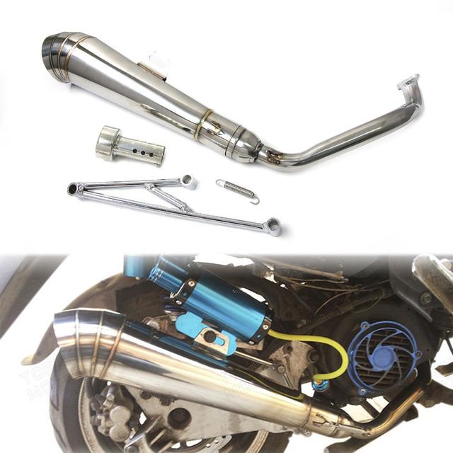 Sistema silencioso de escape de cabeçalho exhuast cachimbo gp estilo silenciador para honda ruckus/zoomer/gy6 125cc e 150cc scooters