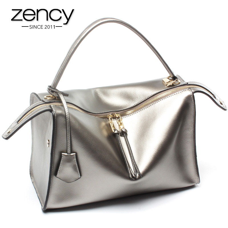 Zency Famous Brand Luxury Women Tote Bag 100 Genuine Leather Handbag Silver Lady Shoulder Messenger Purse