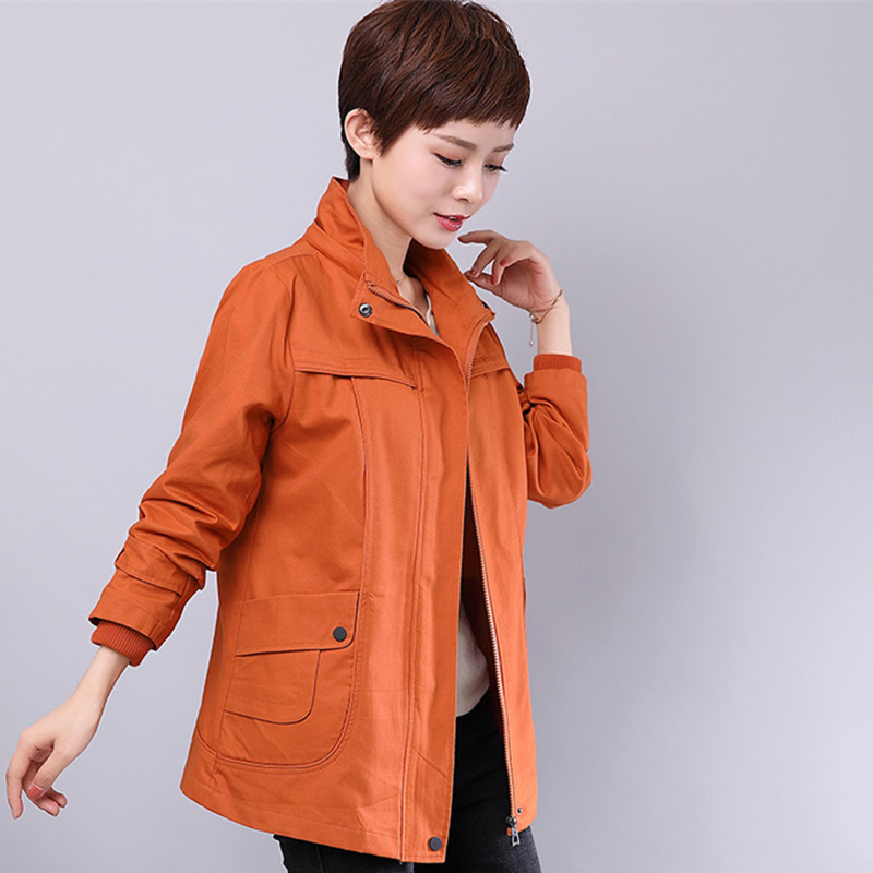 Plus Size 6XL Women   Trench   Coat Autumn New Pure Color Loose Zipper Cotton Outwear Female Windbreaker Basic Coats Casual Tops 236