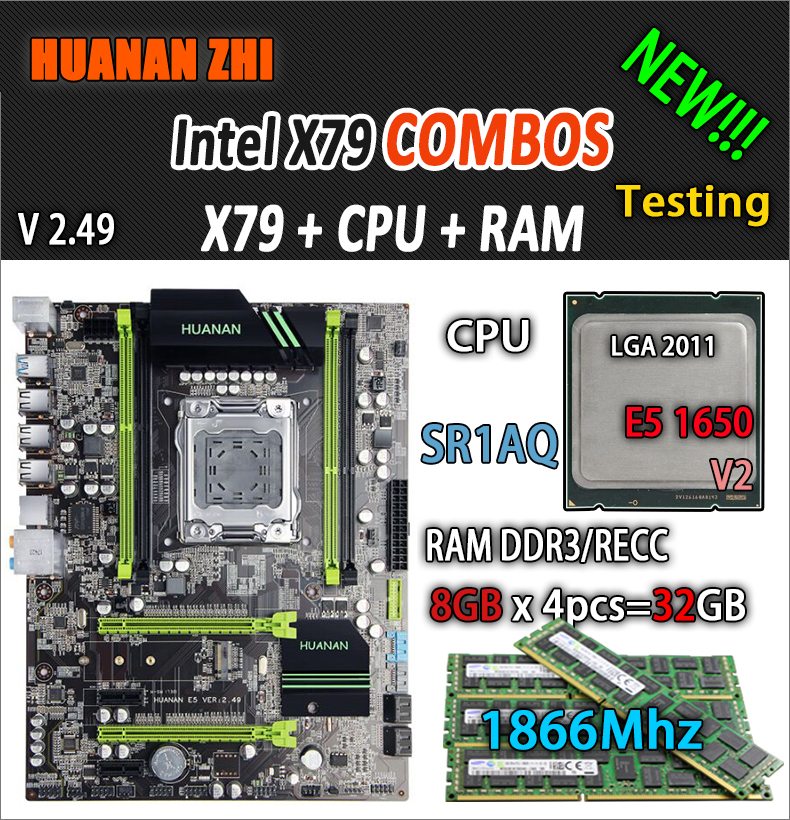 HUANAN ZHI V2.49 X79 placa base LGA2011 ATX combos E5 1650 V2 SR1AQ 4x8G, 32 GB 1866 Mhz USB3.0 SATA3 PCI-E NVME M.2 SSD