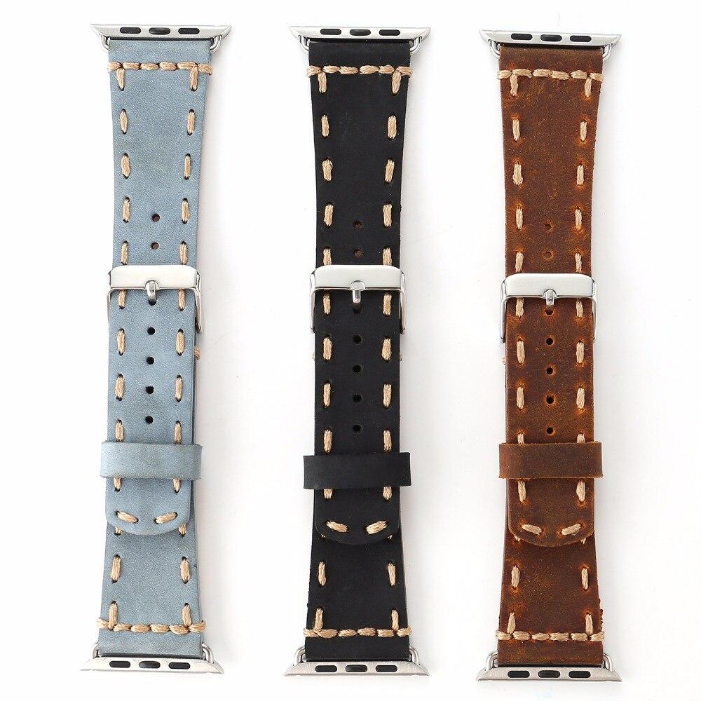 все цены на Vintage Genuine Leather Handmade Watch Band for Apple Watch Series 1/2 Black Brown Blue for 38/42mm Men's Classic Strap I220.
