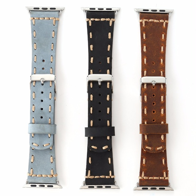 Vintage Genuine Leather Handmade Watch Band for Apple Watch Series 1/2 Black Brown Blue for 38/42mm Men's Classic Strap I220.