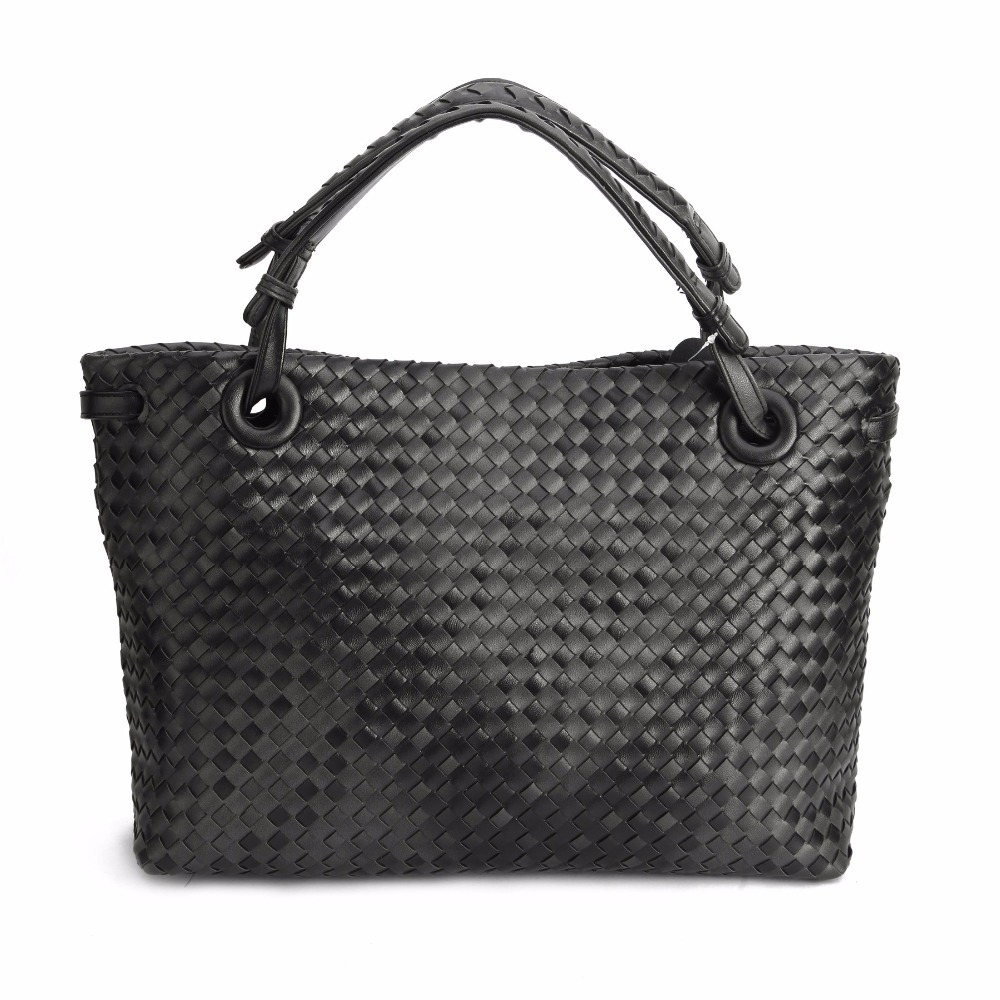 Fashion Women Tote Handbags Double-colored Faux Leather Shoulder Bags PU Woven Purses Knitting new 100% handmade woven leather handbags tote women shoulder bags with detachable zipper pouch