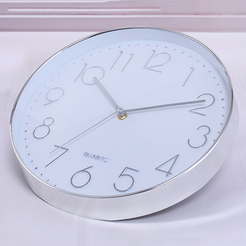 Modern Wall Clock,12 Inch Large Decorative Universal Silent Indoor Quartz Round Wall Clock Non-ticking For Living Room Office