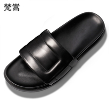 Summer Genuine Leather slippers male magic paste toe Slacker casual shoes fashion classic beach shoes all-match cowhide slippers women s slippers fashion casual all match bow tie flat shoes