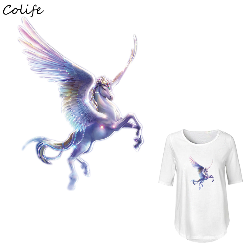 Iron Patches For Clothing Flying Horse Washable DIY Accessory Print On T-Shirt Clothes Decoration New Design Parches 17x23cm
