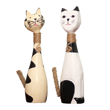 Wooden Crafts Decoration Home Creative Ornaments Cute Couple Kitten Decor Accessories Figurines Wedding Gifts
