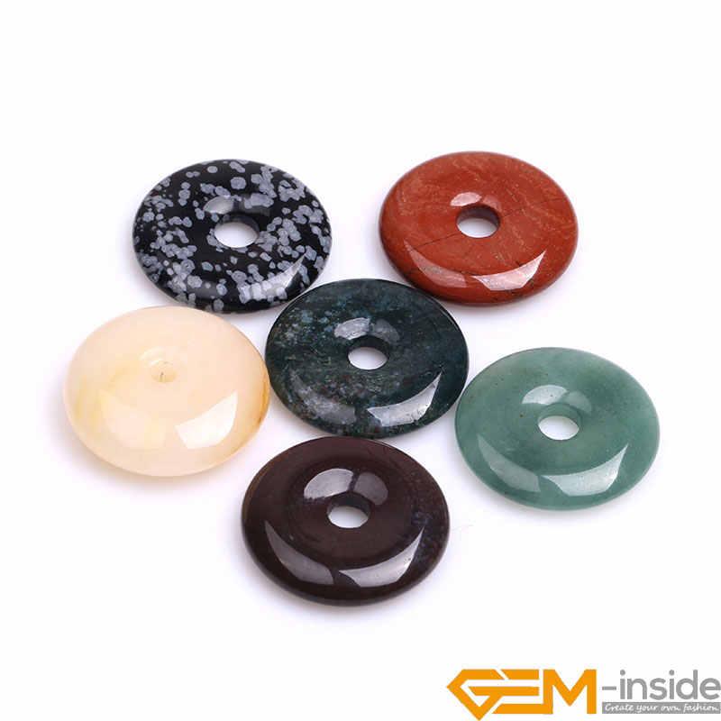 30mm Donuts Forma Contas de Pedra Naturais Para Fazer Jóias: Ágatas Indianos, Obsidian, Agat Musgo, jaspers vermelho, Tiger Eye, Frete Grátis
