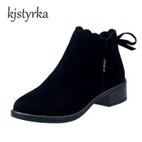 Kjstyrka Fashion Hot Sale British Style Classical Suede Short Ankle Boots For Womens Shoes Plush Warm