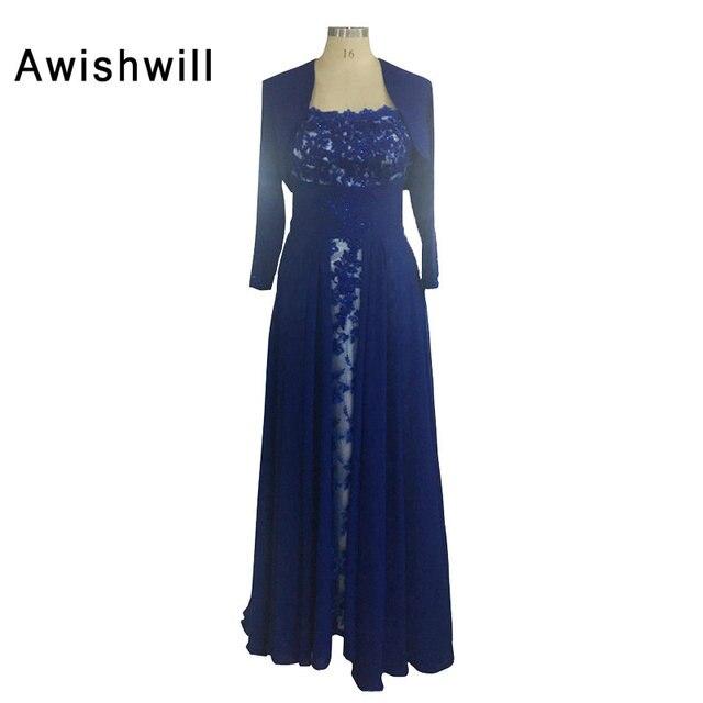 37d23436dad Bleu Royal Longue Formelle Robe De Soirée En Dentelle de Mousseline de Soie  Avec Trois trimestre