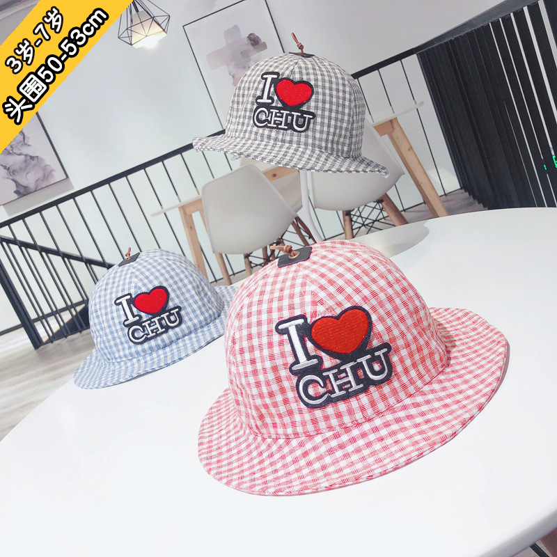 6m to 4 years old Children 39 s hats paragraphs spring han edition grid embroidery baby fisherman hat thin basin kids hat XA 222 in Hats amp Caps from Mother amp Kids