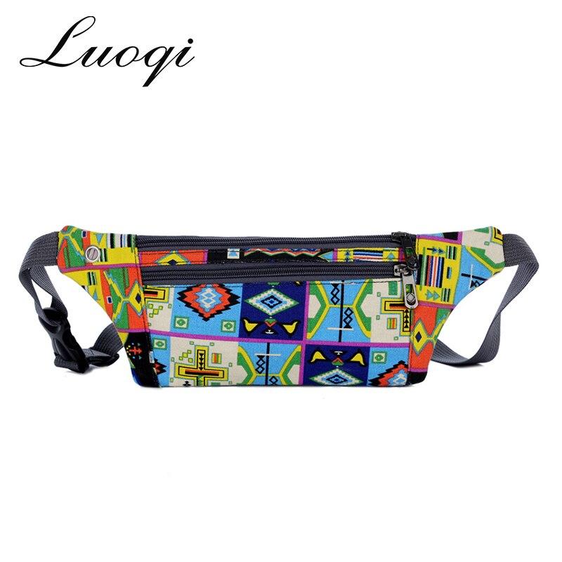 2733fd9f89b7 Canvas Waist Bags for Women 2018 Printing Fanny Packs Personality Belt Bags  Waterproof Chest Bag Graffiti