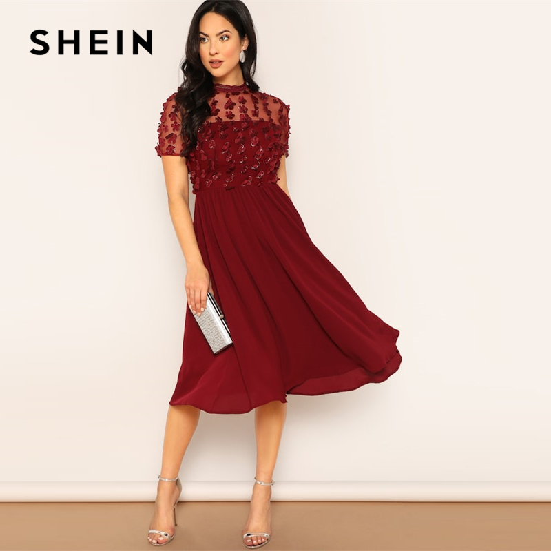 Шеин бордовый сетчатой вставкой цветок аппликация Flare однотонное платье для женщин весенние элегантные короткий рукав Стенд воротник