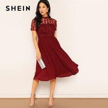SHEIN 부르고뉴 메쉬 삽입 꽃 아플리케 플레어 일반 드레스 여성 봄 우아한 짧은 소매 스탠드 칼라 미디 드레스