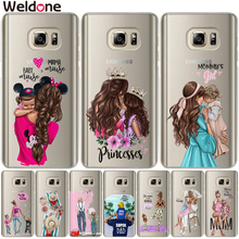 Cute Love Family Super Mom Baby Girl Phone Case etui For Samsung A8 A6 Plus A7 A9 2018 A3 A5 2016 2017 A750 Cases Cover Etui