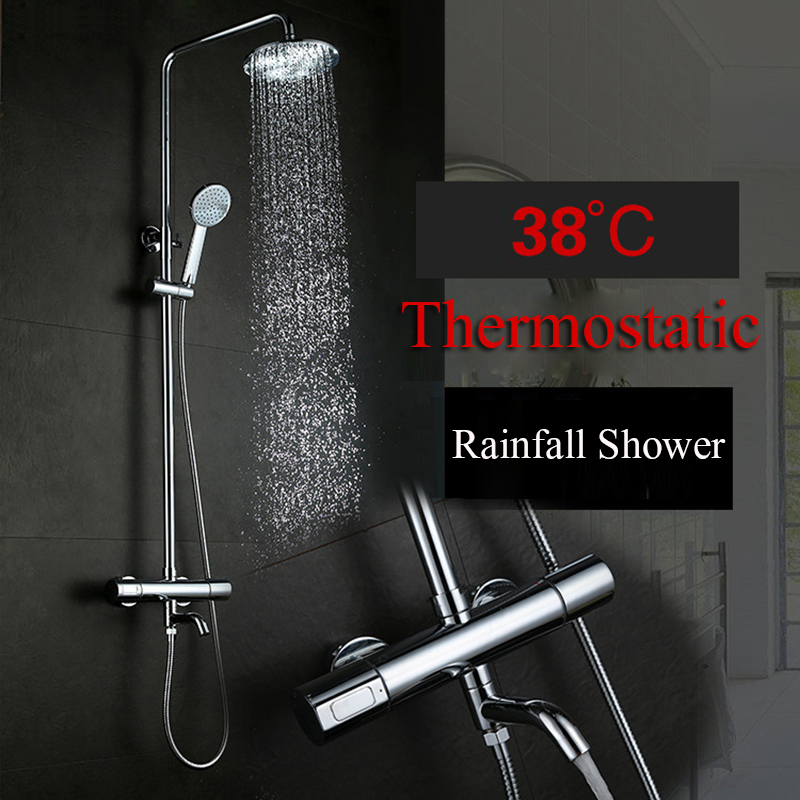 Thermostatic Bathtub Shower Faucet Rainfall Shower Head Hand Shower Sprayer Bathroom Shower Faucets Set With Water Spout Chrome стоимость