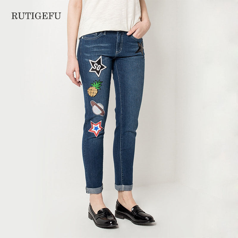 ФОТО 2017 Jeans Women's Jeans With Embroidered jeans Woman Elastic Plus Size Women Jeans femme washed daily skinny pencil pants