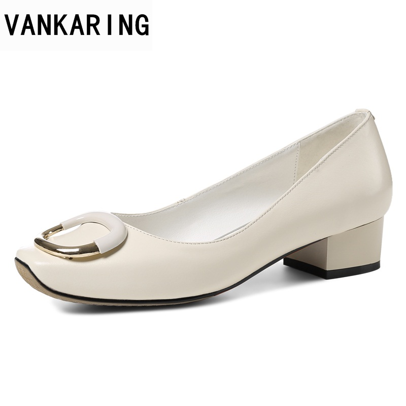цены VANKARING 2018 new fashion women med heels shoes pumps black beige white spring autumn shoes woman dress office ladies pumps