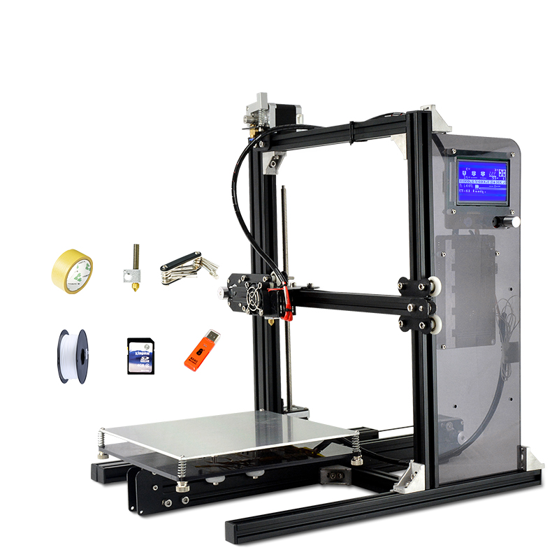 Hot Sale 3D-Printer DIY Yite 3D Easy Assemble High Precision Reprap Prusa i3 3D Printer Kit Metal With Free Filament LCD Screen anet a6 3d printer high precision reprap prusa i3 3d printer high quality diy easy assemble filament kit sd card knob lcd screen