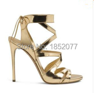 3fb6c2669122 Quality Brand Women Shoes Strappy Sandals Gold High Heel Cut Cuts ...
