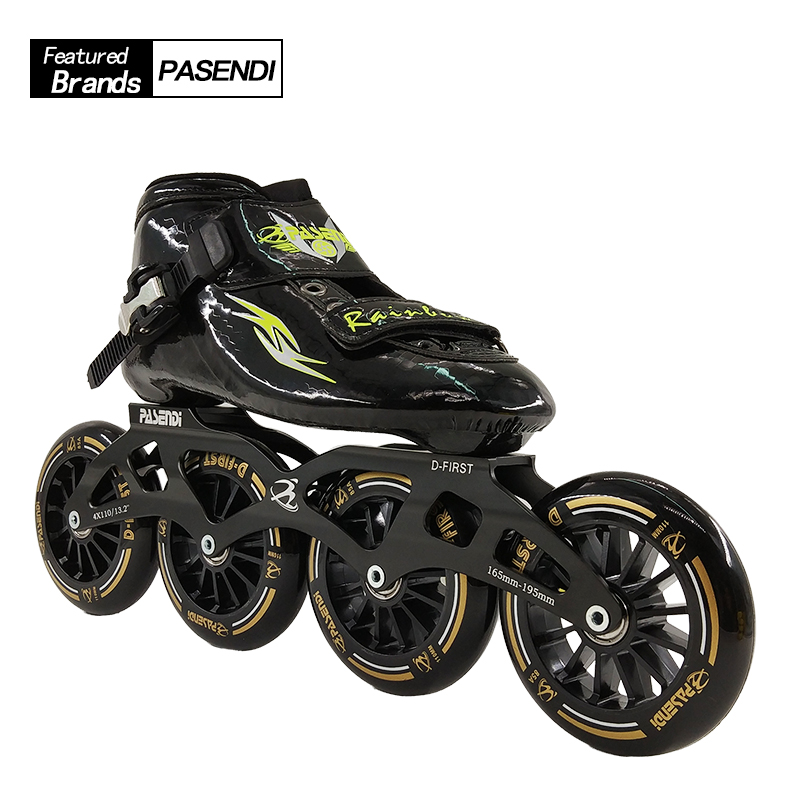 low priced c2ba6 1e9de US $103.25 41% OFF Professional Herren Geschwindigkeit Skate Schuhe 4 Räder  Rollschuhe Frauen/Männer Inline Skating Stiefel Erwachsene/Kind 2017 Neue  ...