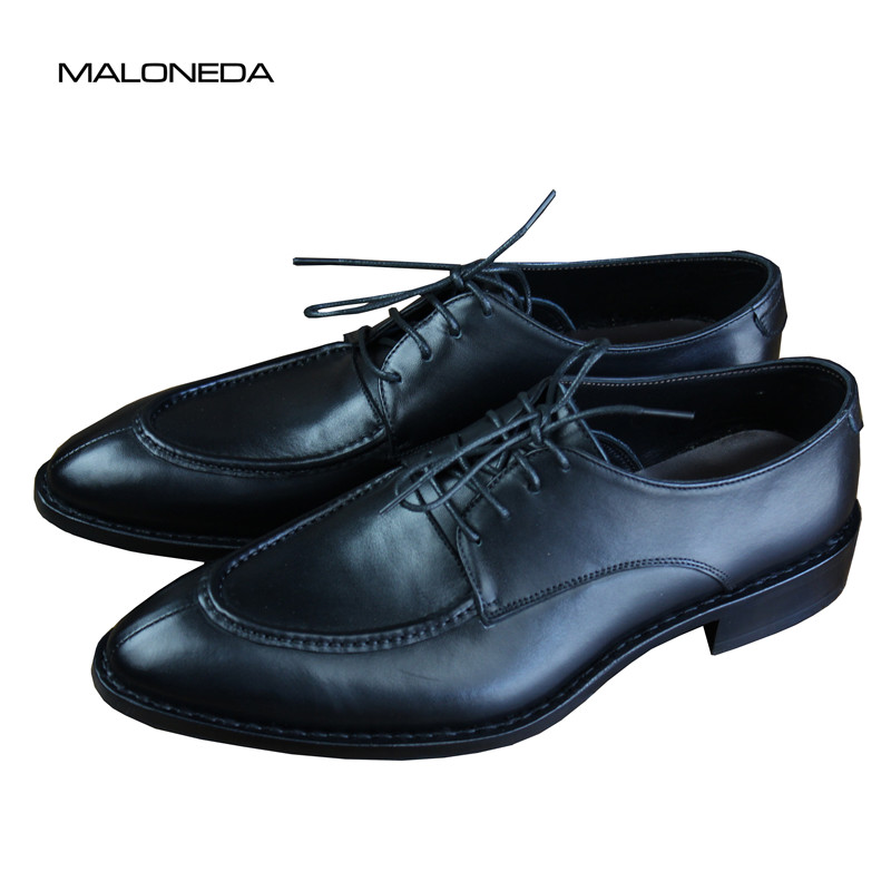 MALONEDA Genuine Leather Men's Dress Shoes Handmade Goodyear Leather Soles Lace Up Pointed Toe Shoes For Party