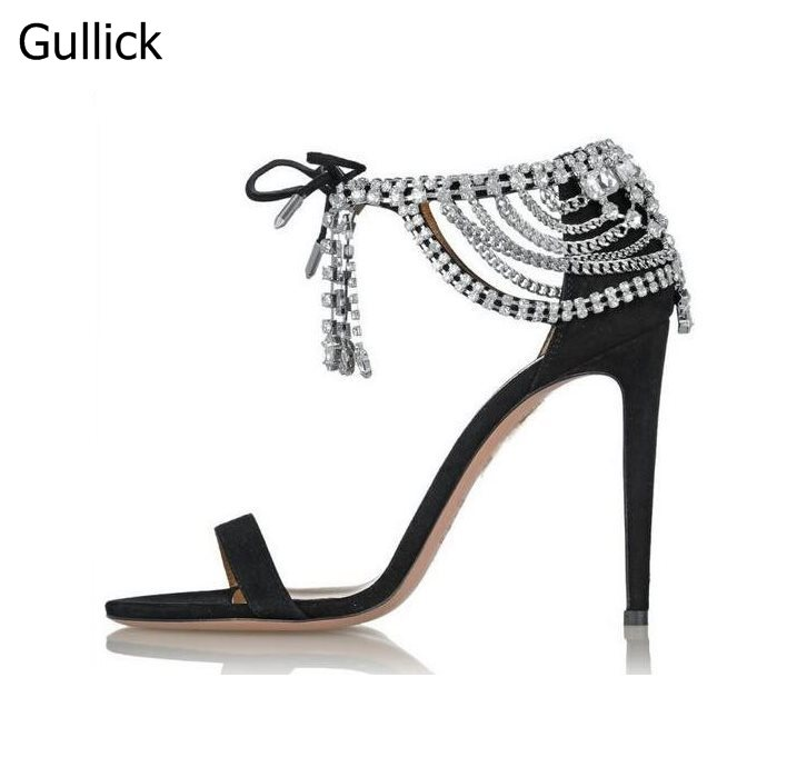 Summer Fashion Rhinestone Ankle Strap Sandals Crystal Embellished Suede Cut-outs Lace-Up Pumps Black Beige High Heel Party Shoes 2017 new arrival abnormal jeweled heels rhinestone crystal embellished high heel sandals ankle strap lock summer party shoes
