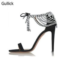 Summer Fashion Rhinestone Ankle Strap Sandals Crystal Embellished Suede Cut-outs Lace-Up Pumps Black Beige High Heel Party Shoes недорого