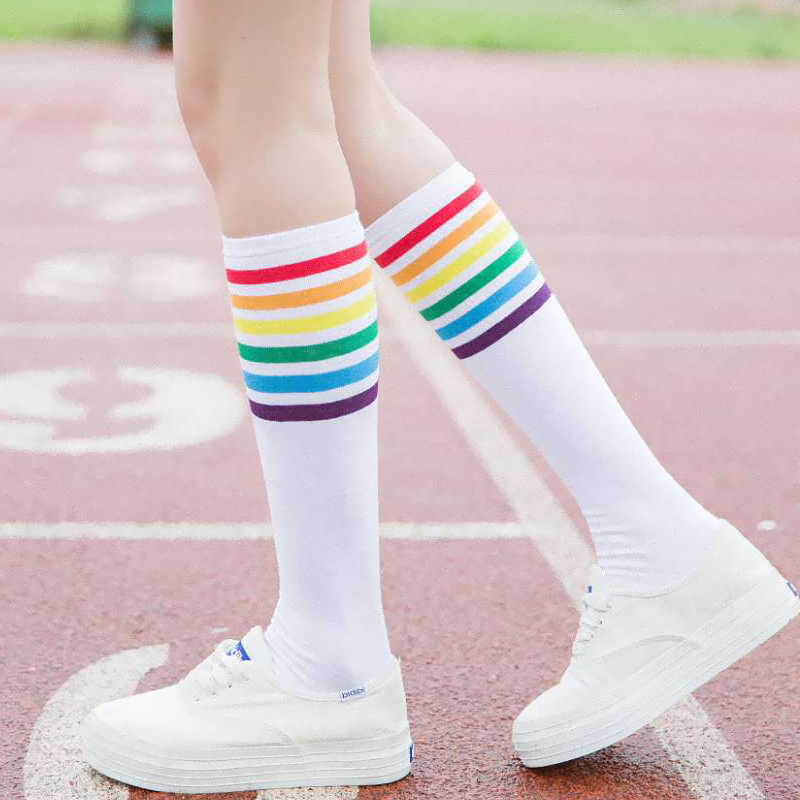 New Fashion Multicolor Stripes Cotton Sexy Womens Long Socks Student Style Style Party Street Dancing Knee Sock