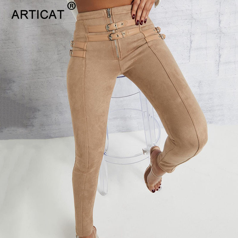 Articat High Waist Suede Leather Autumn Pants Women Leggings Zipper Belt Buckle Skinny Pencil Pants Women Trousers Casual Pants