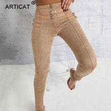 Articat High Waist Suede Leather Autumn Pants Women Leggings Zipper Be