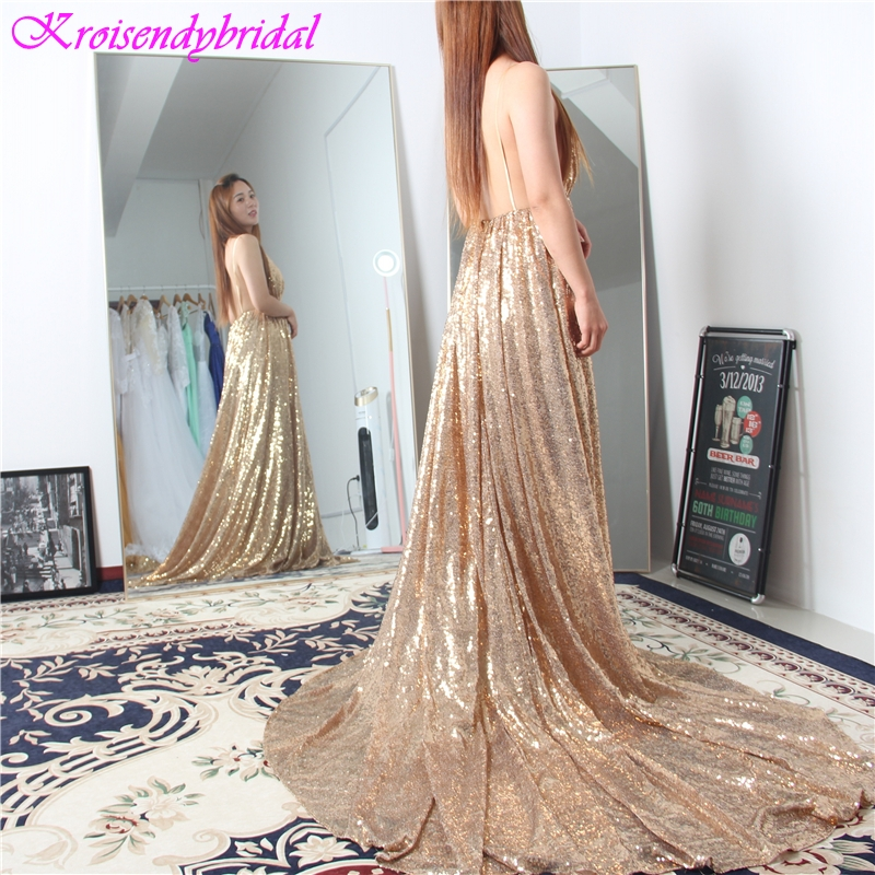 HSQ013 New Arrival Open Back Evening Dresses Spaghetti Straps Beautiful A Lince Gold Sequins Lace Evening Gowns Prom 2019 Long