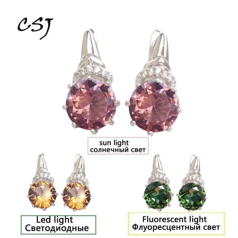 CSJ Elegant Zultanite Earring Sterling 925 Silver Round 8MM Created Sultanite Fine Jewelry Women Wedding Party Gift