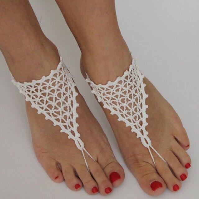 Crochet zapatos de boda Blanco de Playa 1dc2b71c8dc