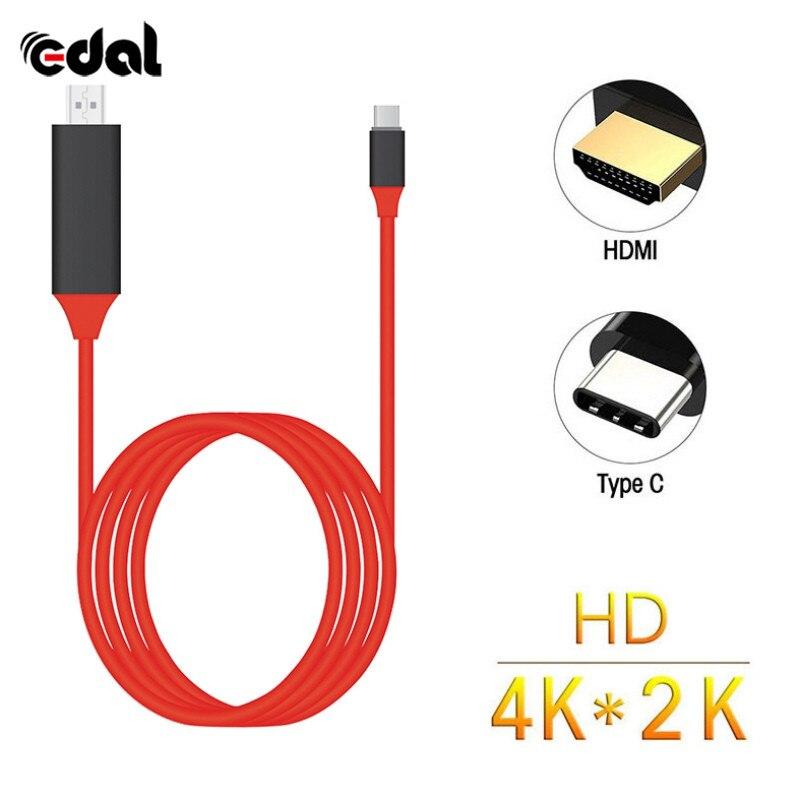 Tipo C a HDMI USB 3.1 4 k Ad Alta Velocità Via Cavo Adattatore per MacBook ChromeBook Pixel USB C a HDMI cavo Rosso