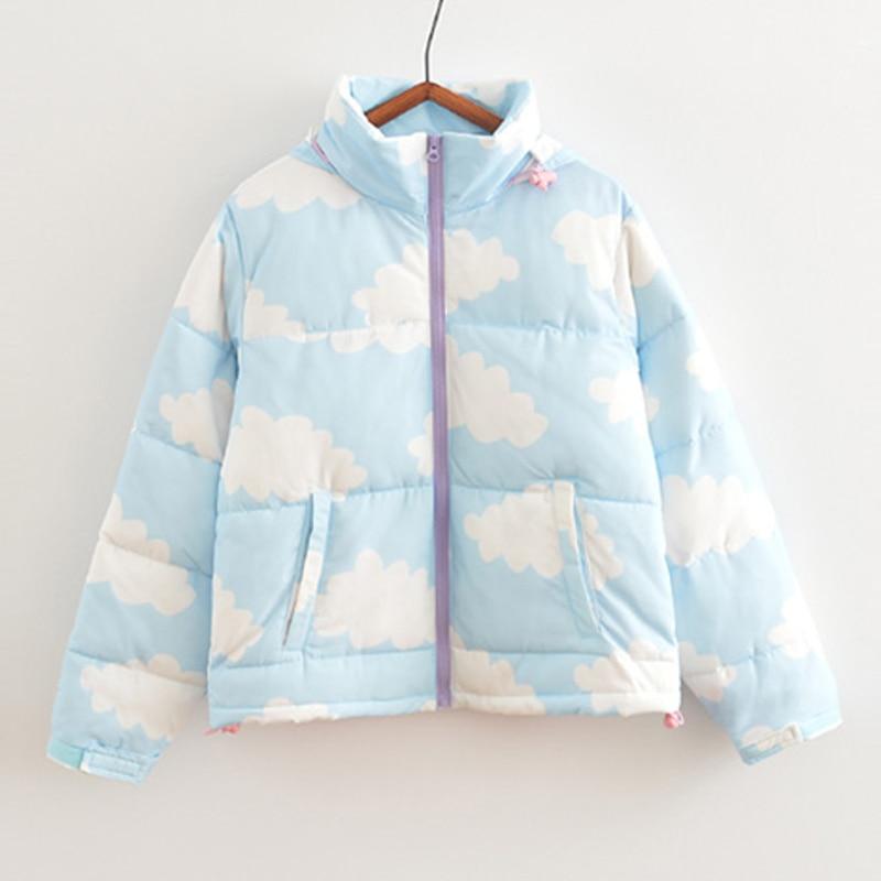 EURO styl kobiety kurtki zimowe z kapturem płaszcze z bawełnianą podszewką płaszcze zagęścić znosić wysokiej jakości Cloud Print ciepłe parki płaszcz w Parki od Odzież damska na  Grupa 1