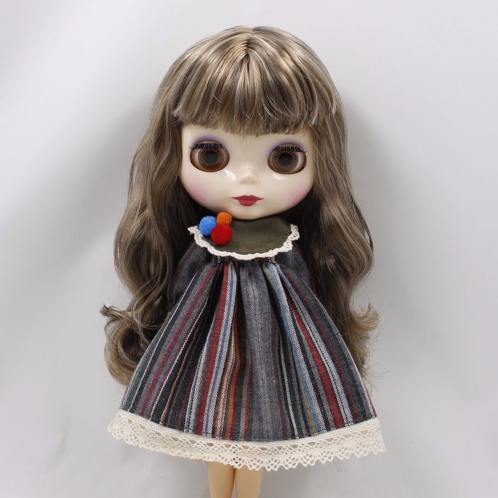 Neo Blythe Doll Stripe Printed Dress With Bowknot 4