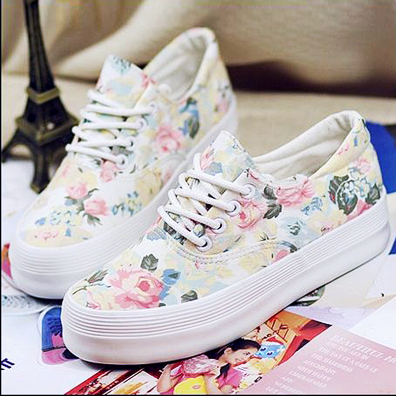 Floral Women Shoes Canvas Lace Up