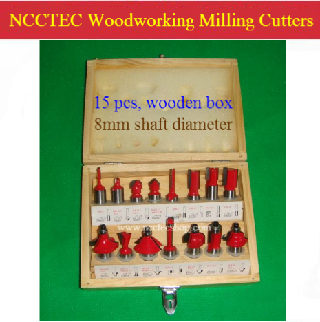 [15 pcs router bit set] 8mm shaft tail woodworking milling cutters for wood router Trimmer machine manual cutter | YG8 carbide [15 pcs router bit set] woodworking milling cutters for wood router woodworking machine free shipping yg8 carbide wooden box