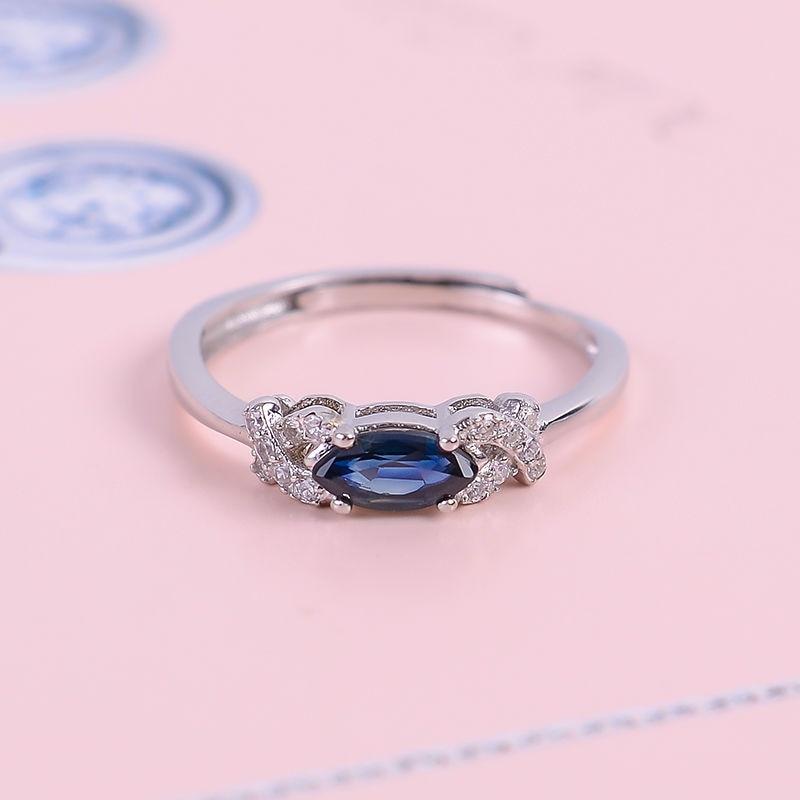 Přírodní safírový kámen nové prsteny pro dívky 925 mincovní stříbro šperky drahokam modrá snubní prsten s krabicí