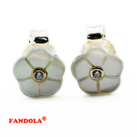 Trendy Sterling-Silver-Jewelry Luminous Florals Stud Earrings With CZ 925 Silver Earrings for Women Wholesale FLE062