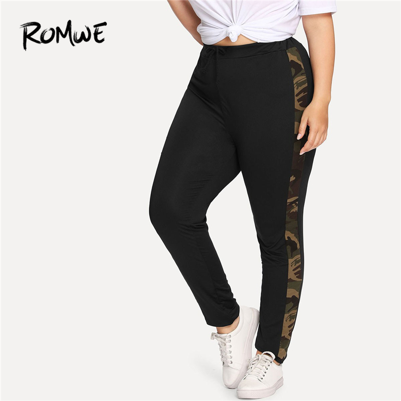 Detail Feedback Questions about Romwe Sport Plus Size Black Panel Camo Women  Fitness Running Tights 2018 Gym Sweatpants Sport pants Yoga Female Jogging  ... 0b6202286406