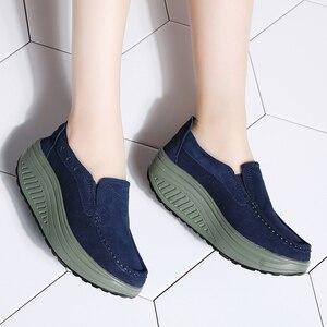 Image 5 - STQ 2020 Thu Đế Phẳng Giày Nữ Đế Giày Sneakers Da Da Lộn Cổ Trơn Trượt Trên Bãi Cây Leo Mộc Mạch Trà 2122