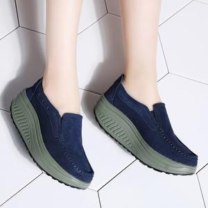 Image 5 - Stq 2020 Herfst Vrouwen Flats Schoenen Dames Platform Sneakers Schoenen Leer Suede Casual Slip Op Flats Klimplanten Mocassins 2122