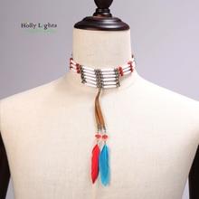Mujeres de la manera bohemia de plumas collares gargantillas collar tribal étnico boho cuentas manual de collar y colgantes de moda bijoux femme