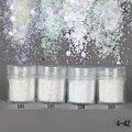 1 Caja de 10 ml Glitter Polvo de Hojas de Consejos de Colores Blanco Ultra-delgado y 1mm Mezcló Hexagonal Polvo de Uñas arte de La Decoración