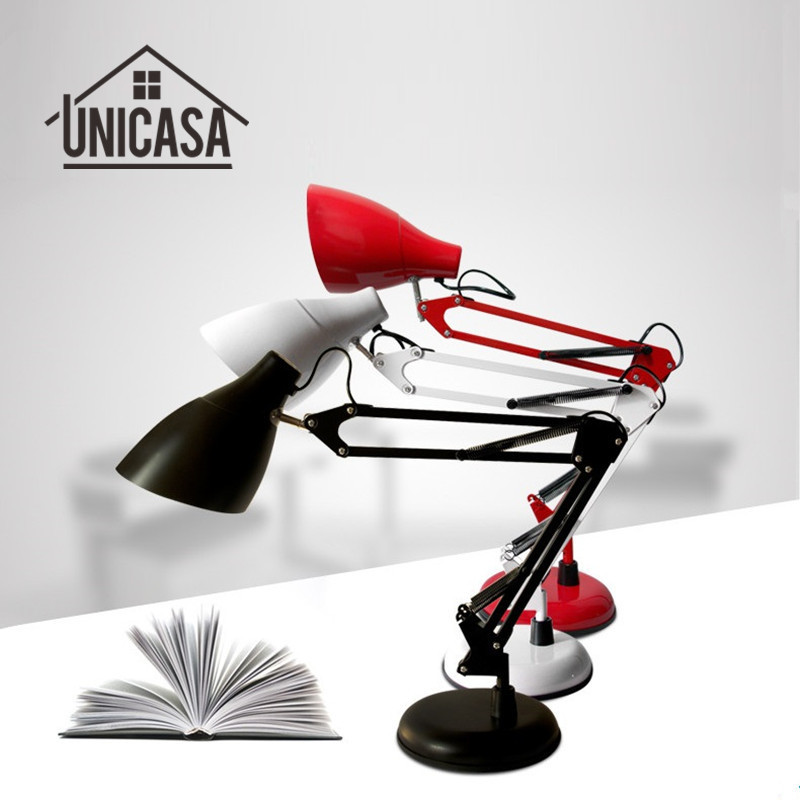 Adjustable Clip Desk Lamps Bedside Desk Top Table Lamp Black/Red/White LED Table Lights Office Libraly Porch Industrial Lighting