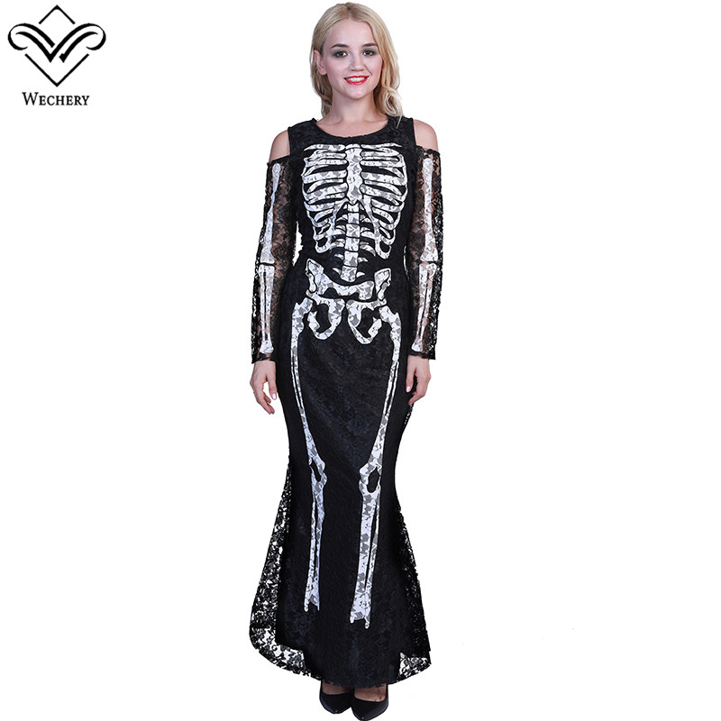Wechery Horror Costume for Women skeleton Printed Dress Adult Halloween Party Holiday Long Slimming Black Dresses